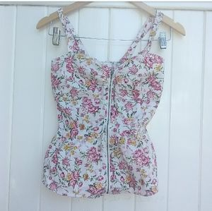Nwot Floral Zipper Front Cami Tank S